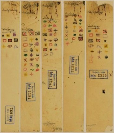 fig 3.b. siglas coloridas de transferência   Passagens-Baudelaire [1937-40]